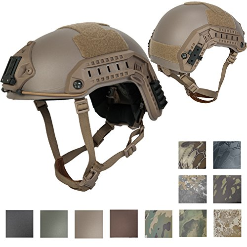 Lancer Tactical LARGE - X-LARGE Industrial ABS Plastic Constructed Maritime Helmet Adjustable Crown with 20mm Side Rail Adapter Velcro padding Stickers NVG Shroud Bungee Retention - DARK EARTH by Lancer Tactical