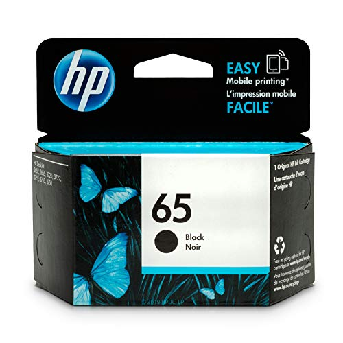 HP 65 Black Ink Cartridge (N9K02AN) for HP DeskJet 2624 2652 2655 3722 3752 3755 3758 ()