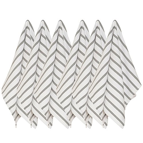 Now Designs Basketweave Kitchen Towel, Set of Six, London Grey