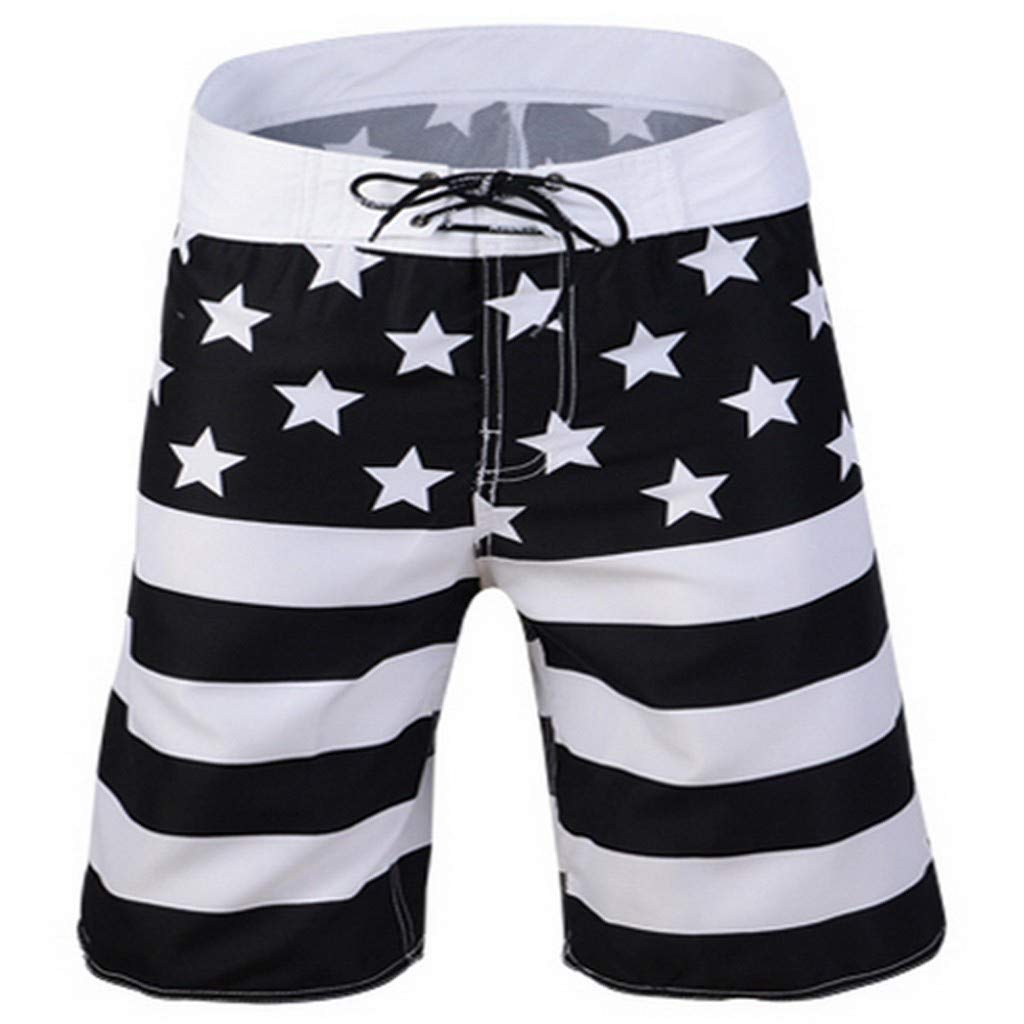 Clearance Sale! Mens Patriotic USA American Flag Swim Trunks Alalaso