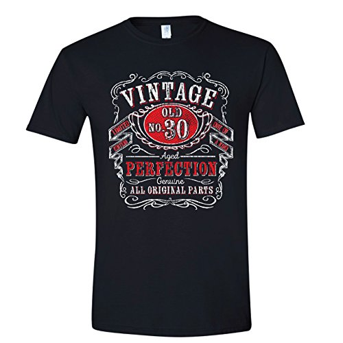Texas Tees 30th Birthday Vintage, Over The Hill for Men, Thirtieth for Him, Black, XL