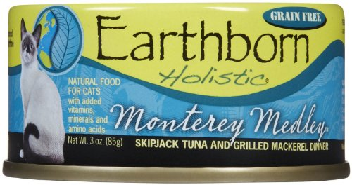 Monterey Medley Skipjack Tuna (Earthborn Holistic Monterey Medley Skipjack Tuna and Grilled Mackerel Dinner Wet Cat Food, 3-Ounce Per Pacakge,)