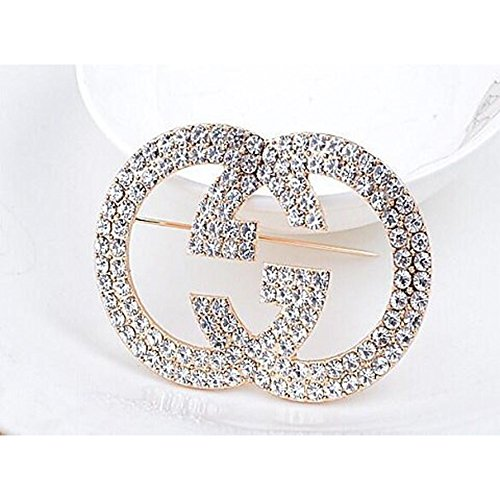 tianshiya Women's Fashion Brooches & Pin Letter Designed Metal and Crystal Paved with Multi-Options ... (GG1)