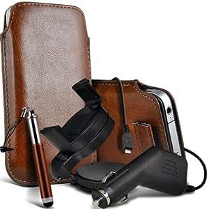 Samsung Galaxy Pocket Neo S55310 premium protección PU ficha de extracción Slip In Pouch Pocket Cordón piel con lápiz óptico retráctil, un cargador de coche USB Micro 12v y 360 Sostenedor giratorio del parabrisas del coche cuna Brown por Spyrox