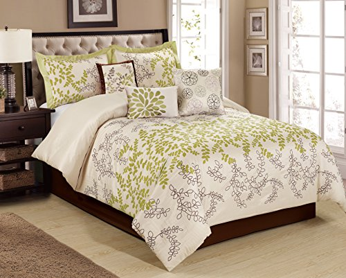 7 Piece Saratoga full of leaves embroidered and print Comforter Set- Queen King Cal.king Size (Queen, - 7 Piece Leaf