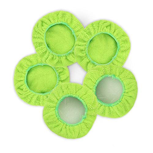 Car Care Replaced Microfiber Clothes for XINDELL Windshield Cleaning Brush Cotton Terry Washable Car Washing Pads – 5 Inch Diameter, Green, 5 Pack (Square)