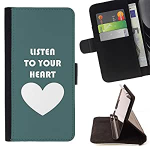 Momo Phone Case / Flip Funda de Cuero Case Cover - Coeur Écouter texte Amour Teal - LG G4 Stylus H540