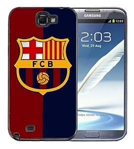 Samsung Galaxy Note 2 Black Rubber Silicone Case - Barcelona FCB Soccer Futsal Futbol club Messi FC