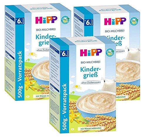 Hipp leche de avena orgánica infantil de sémola, 3-pack (3 x 500