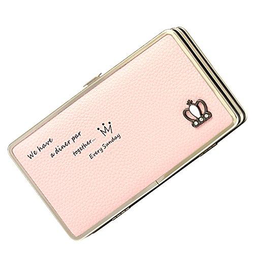Vandot 3D Cute Niña de las Flores Diseño Cartera de Embrague de Teléfono para Mujer PU Cuero Pequeña Cremallera Monedas Dinero Bolsillo Tarjeta Titular Organizador Multipurpose Phone Wallet Clutch Cas Crown-9