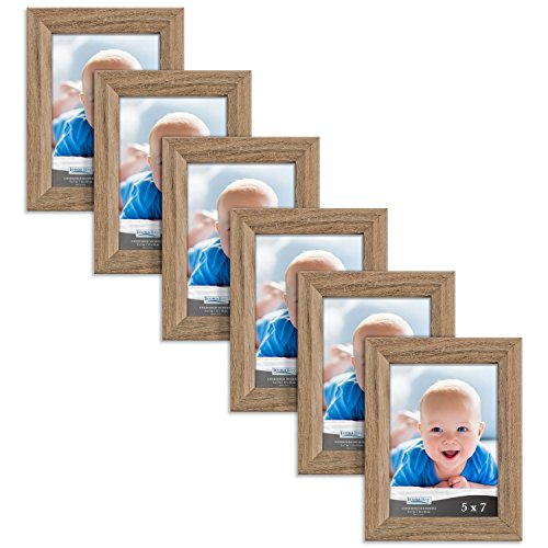 Oak Pack (Icona Bay 5 by 7 Inch Picture Frames 6 Pack (5x7, Dark Oak Wood Finish), Picture Frame Set For Wall Hang or Table Top, Cherished Memories Collection)