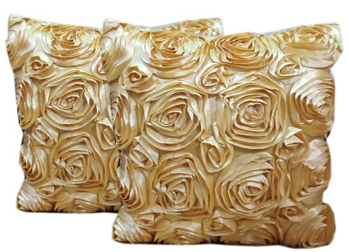 DOUBLE 2 BEAUTIFUL ROSES PILLOW COVER BY HANDMADE ON SELL WITH COMPLIMENTARY by HitHot