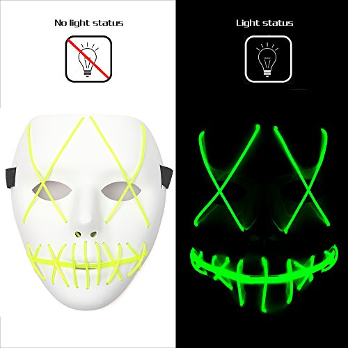 Ansee Scary Mask Halloween Cosplay Led Costume Mask El Wire Light Up Mask for Festival Parties (Green) -