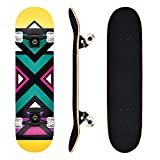 FILWO Skateboards, 31 x 8 Inch Standard Complete Skateboard for Street Pro Double Kick Tail Skateboard 4 PU Wheel 7 Layer Canadian Maple Wood Skateboard, Christmas Gift for Kids Age 5 Up (Multicolor)
