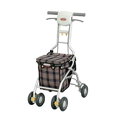 HYRL Carritos de Compras de Ancianos Ultraligero portátiles, de aleación de Aluminio Viejo Walker con