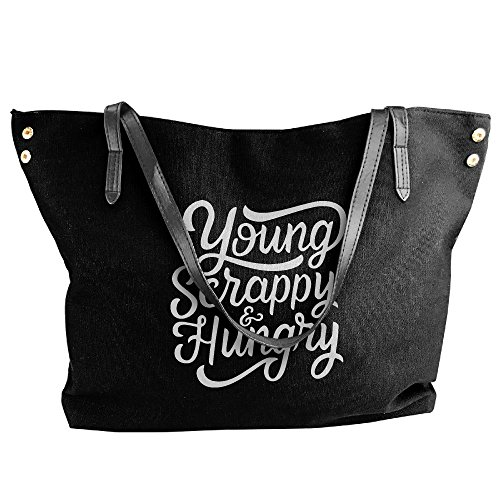 Young Large Bags Messenger Hungry Shoulder Handbag Canvas Tote Scrappy Women's Black wXq1AUSW