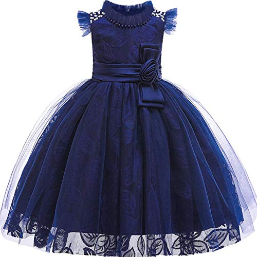Baby Girls 3D Flower Embroidery Silk Princess Dress for Wedding Party Kids Dresses,Navy1,4T
