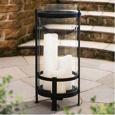 Gentry 3 Candle Lantern by Sunjoy | 3LED Candles Rechargeable All-Weather, Outdoor | Operates up to 6 Hours on a Single Charge