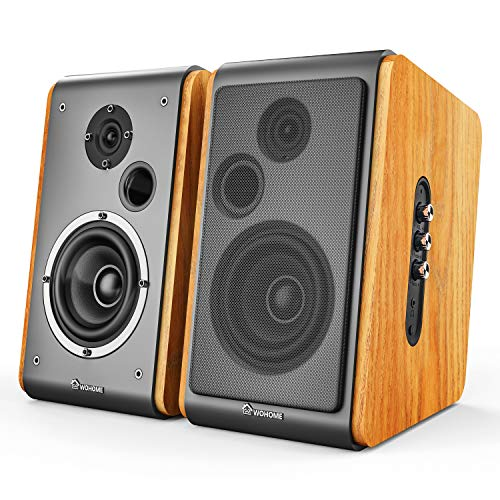 Wohome Bookshelf Speakers 60W Powered Bluetooth Active Home Theater Speaker (Pair, Wooden Enclosure, Wood Color, 4 Inch Driver, Model BT-106) (Best Bookshelf Speakers Under 200)