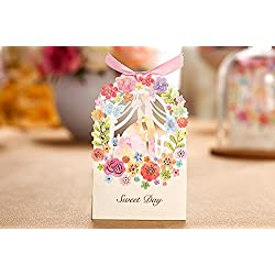 Zorpia® New 50 Pack Romantic Wedding Gift Box Elegant Luxury Decoration Flower Bride Laser Cut Party Sweet Favors Wedding Paper Candy Box ZRA0168907