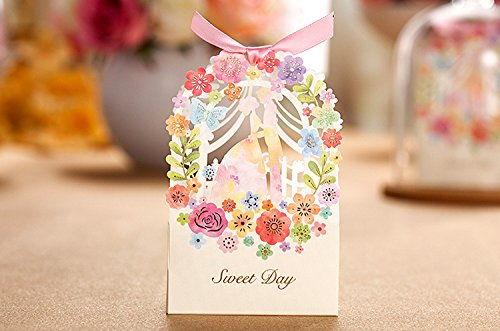 Zorpia® New 50 Pack Romantic Wedding Gift Box Elegant Luxury Decoration Flower Bride Laser Cut Party Sweet Favors Wedding Paper Candy Box ZRA0168907