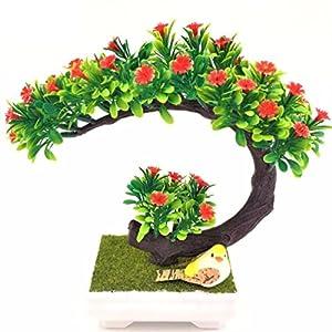 Inteeon Artificial Bonsai 1pc Artificial flowers wreaths plants tree bonsai fake pine trees Komatsu vase 71