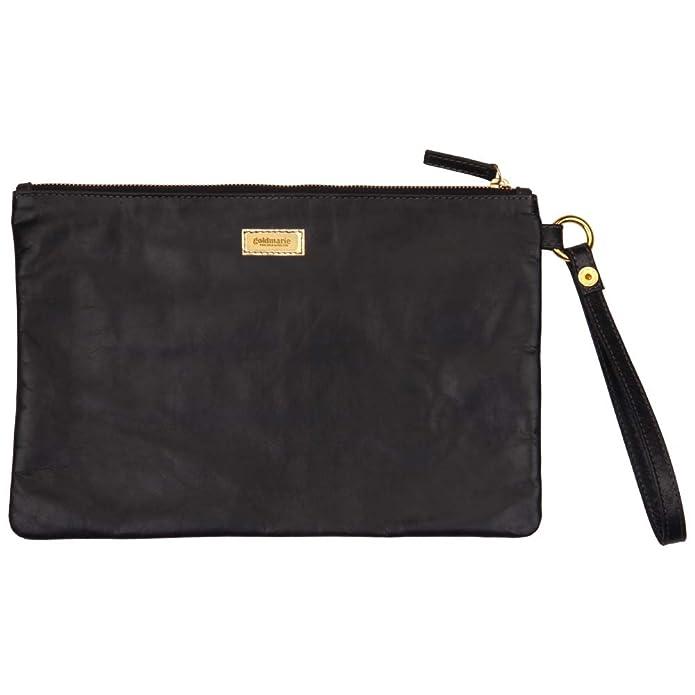 ea19e9801498b Goldmarie Clutch Tasche Leder Muster Handtasche mit Henkel Ledertasche mit  Reißverschluss schwarz gold  Amazon.de  Schuhe   Handtaschen