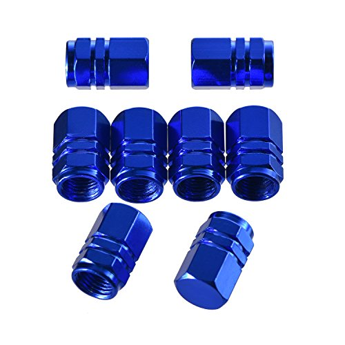 (eBoot 8 Pieces Tire Stem Valve Caps Wheel Valve Covers Car Dustproof Tire Cap, Hexagon Shape (Blue))