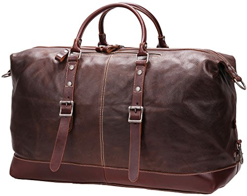 Iblue Genuine Leather Travel Duffel Weekend Bag Luggage Carry On Gym Handbag D05(dark brown) by iblue (Image #6)
