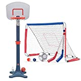Step2 Kick And Shoot Sports Combo with Soccer Hockey Goal, Baseball Pitch Back, and Kids Basketball Hoop