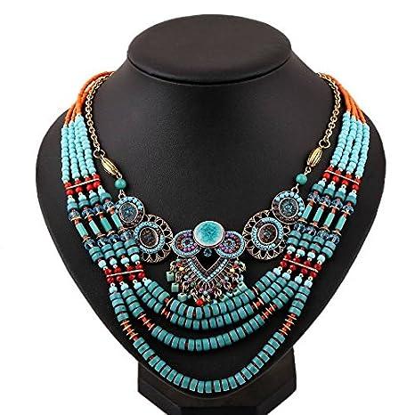 Hipoalergénico Moda Tendencia Collar de Metal Hecho a Mano Cuentas de Cerámica Collar de la Joyería , azul eléctrico