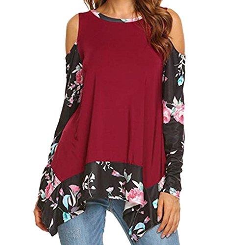 zahuihuiM Femmes Printemps Automne Mode Nouveau T-Shirt Floral Imprime Patchwork O-Cou  Manches Longues paule Froide Casual Tops Blouses Rouge