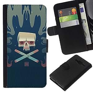 KLONGSHOP // Tirón de la caja Cartera de cuero con ranuras para tarjetas - Cráneo del cigarrillo - Samsung Galaxy Core Prime //