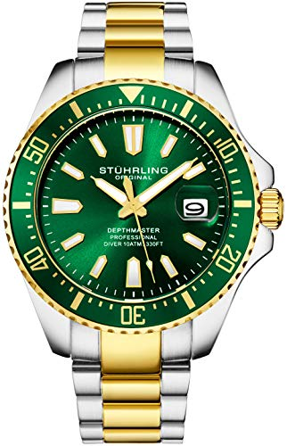 Water Resistant Sapphire Crystal Watch - Stuhrling Original Mens Watch - Gold Tone and Stainless Steel Bracelet Green Dial Analog Watch with Screw Down Crown for 330 Ft. of Water Resistance Quartz Movement - Depthmaster Watch for Men Collect