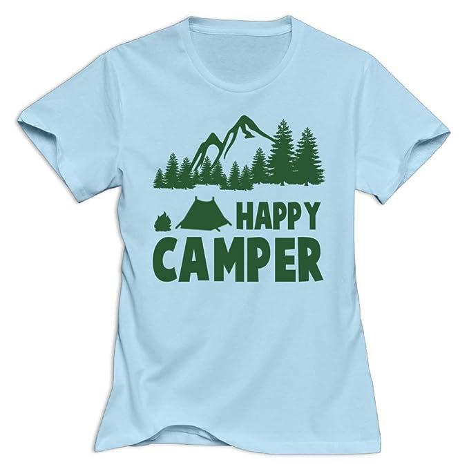 6901c53493f0 Amazon.com  Green Happy Camper Women Summer Classic T Shirts Short ...