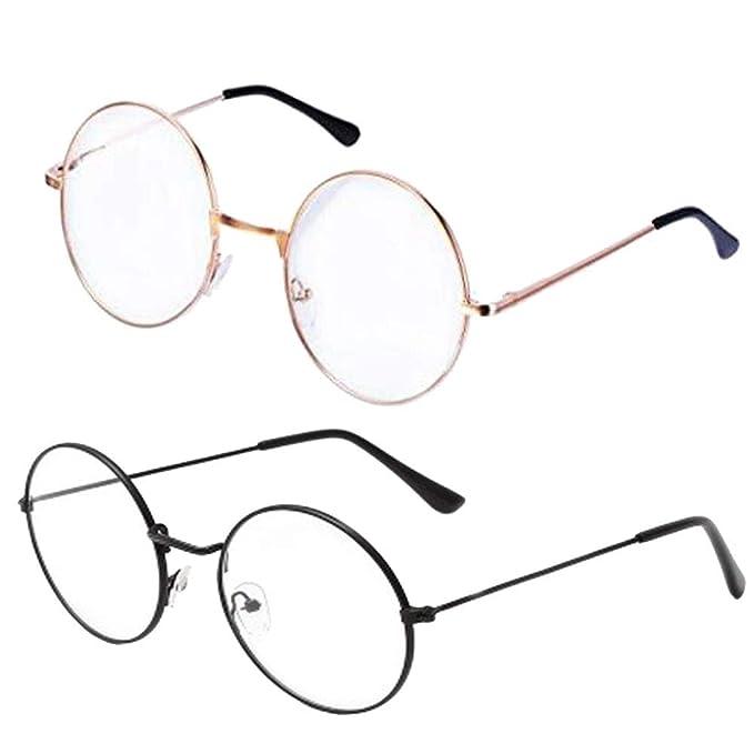 641d6a4160 Gafas Redondas de Marco de Metal Retro, 2 Piezas Gafas de Lente  Transparentes Unisex Clásicos