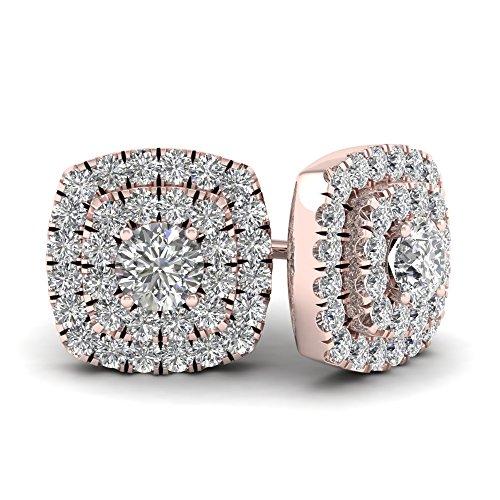 10k Rose Gold 1/2ct TDW Diamond Double Square Frame Halo Stud Earrings (I-J, (Tdw Diamond Square Earrings)