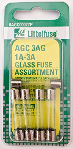 Littelfuse 0AGC0002ZP AGC Fuse Assortment 3AG 250V 1A 3A, 5 Pack