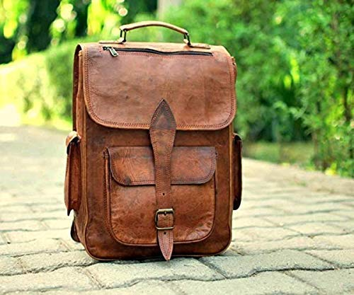 - Brown Leather Rucksack Vintage Backpack - Fits 15 Inch Laptops and iPads - Handsome Patina Deepens as Ages - Waterproof, Ideal for Business, Travel, Gym - Suits Men or Women