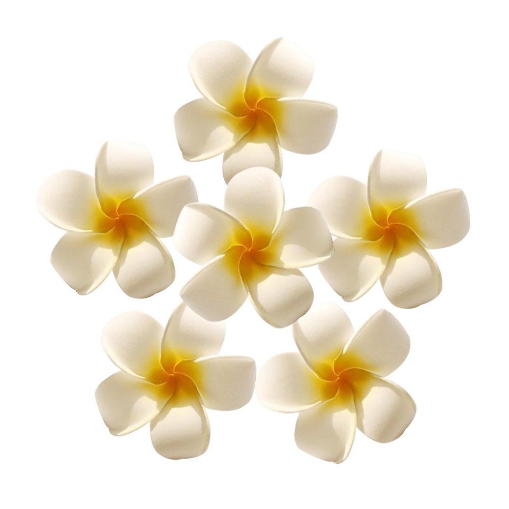 HAKACC Foam Artificial Plumeria Rubra Flower Heads Frangipani ...