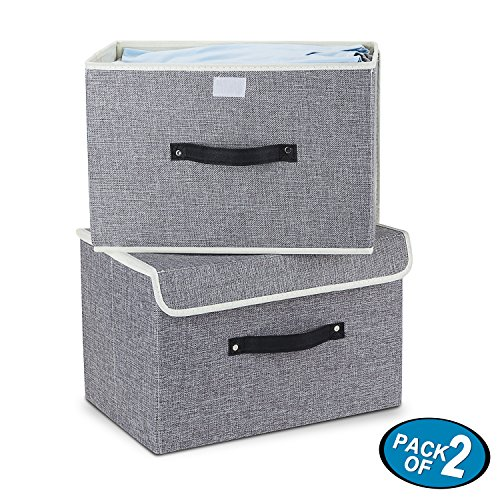 Storage Bins,Mee'life Set of Two Foldable Storage Box with Lids and Handles Storage Basket Storage Needs Containers Organizer With Built-in Cotton Fabric Closet Drawer Removable Dividers (Light Gray) (Closet Basket Storage)