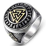 Dixinla Rings Steel , European Retro Men's Viking Nordic Triangle Symbol Titanium Steel Ring Jewelry Gift for Family or Friends