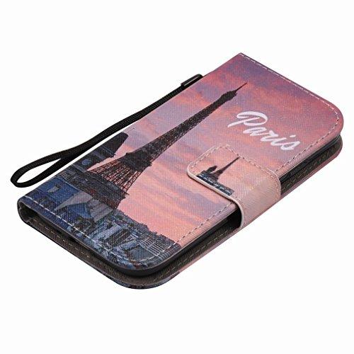 Custodia Samsung Galaxy S4 / I9500 Cover Case, Ougger Portafoglio PU Pelle Magnetico Stand Morbido Silicone Flip Bumper Protettivo Gomma Shell Borsa Custodie con Slot per Schede, Torre Eiffel