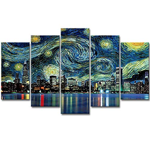 (VividHome Cityscape Canvas Wall Art 5 Pieces Panoramic View of Chicago Skyline at Night Cityscape Framed Picture for Home Decoration Living Room Decor- Van Gogh Starry Night)