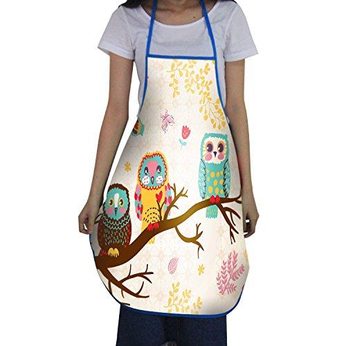 - Bib Apron for Women Men Chef Cooking Aprons BBQ Kitchen Waterproof White Apron Owl 22