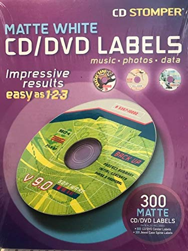 Brand New Labels for use with CD Stomper CD/DVD Labeling System, White Matte, 300/pack, w/600 Center Labels & 300 Spine Labels -