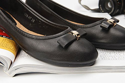 Black Round Flats Leather PU Bowknot Shallow Womens With Plaid Shoes amp;Plain Mouth Toe Frosted S4E4Oqw