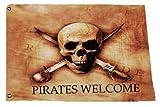 Pirates Welcome Nautical Skull Art Yard Flag