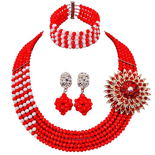 aczuv African Wedding Jewelry Set Nigerian Beads Necklace Bridal Jewelry Sets (Opaque Red White)