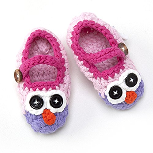 Holly The Owl Child Costumes (Newborn Infant Baby Boy Girl Crocheted Knit Owl Slippers Booties Shoes Socks (Pink and Purple, 0-3 Months))